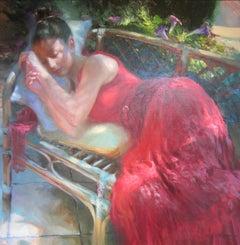 Contemporary Red Figurative Painting 'Siesta en Roja' by Vladimir Volegov