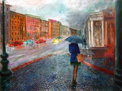 Alone in a Big City, Painting, Oil on Canvas
