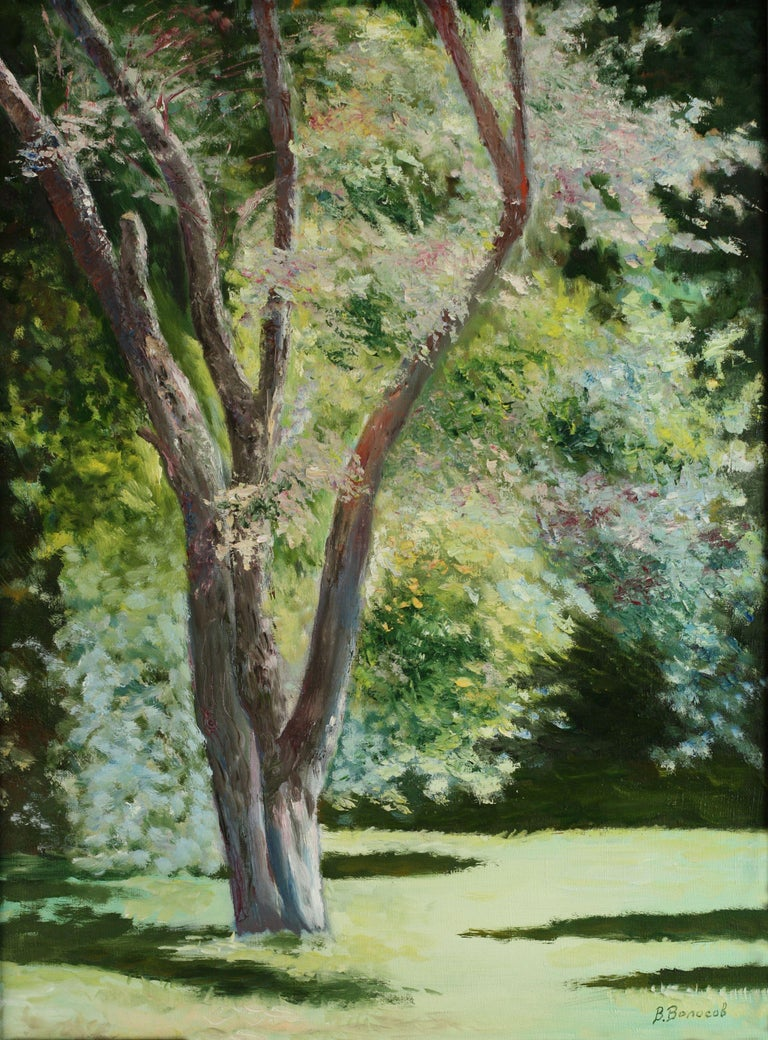 This is an original unique textured oil painting on stretched canvas. The painting was created using professional quality oil paints. Original Artist Style – modern impressionist interpretation of a landscape. Bright colors highlight the picture