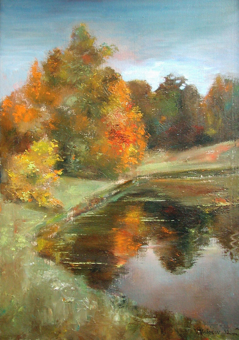 This is an original unique textured oil painting on stretched canvas. The painting was created using professional quality oil paints. Original Artist Style – modern impressionist interpretation. Bright colors highlight the picture in the