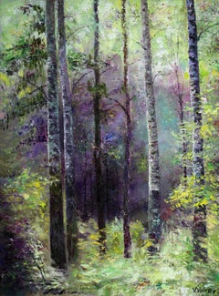 In dark blue forest, Painting, Oil on Canvas