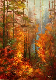 Landscape in Red Colors, Painting, Oil on Canvas