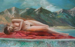 Maid laying on Scarlet, Painting, Oil on Canvas