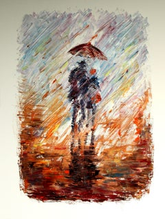 Together under Rain, Painting, Oil on Canvas