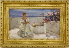 The Grecian Balcony, Signed Russian Impressionist Oil