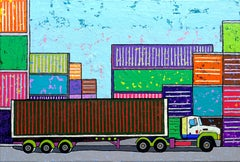 Cargo Traffic City Landscape Oil Painting Pop Art Red Green Purple Orange Brown