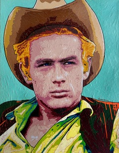 James Dean - Portrait Painting Colors Beige Yellow Green Orange White Black Pink