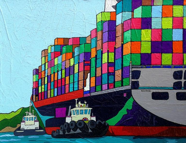 Vlado Vesselinov Landscape Painting - Shipping Rescue Operation - Painting Pop Art Red Green Purple Brown Blue Orange