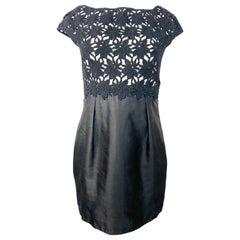 Vlentino Little Black Crochet Mini Dress Size 42/ 8