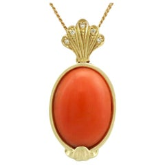 Vntage 1950s 7.27 Carat Coral and Diamond Yellow Gold Pendant