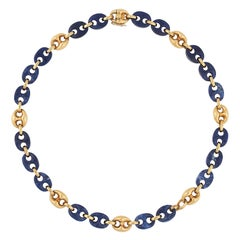Vntage Sodalite and Gold Link Necklace