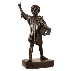 """""""Vocazione"""" Bronze Sculpture by E. Marsili & Fon Papi e Frlli Galli, Italy, 1882"""