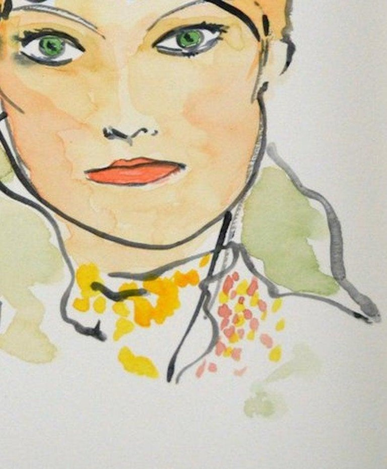American Vogue #4, Watercolor on Archival Paper For Sale