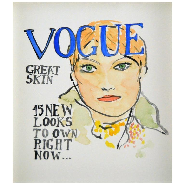 Vogue #4, Watercolor on Archival Paper For Sale