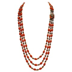 Vogue Bijoux 1970/80s Three Strand Enamel Bead Necklace