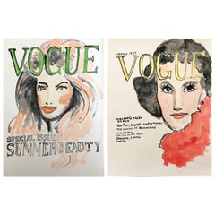 Vogue, Set of Two Watercolors on Archival Paper