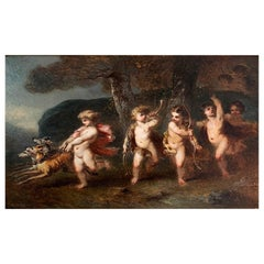 """Voillemot André Charles """"Scene of Hunting with Putti"""""""