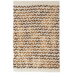 Volare Hand Painted Modern Rug in New Zealand Wool by Deanna Comellini