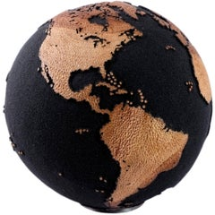 Volcanic Sand Globe with Hammered Skin Textured Continents, 25 cm, Saturday Sale