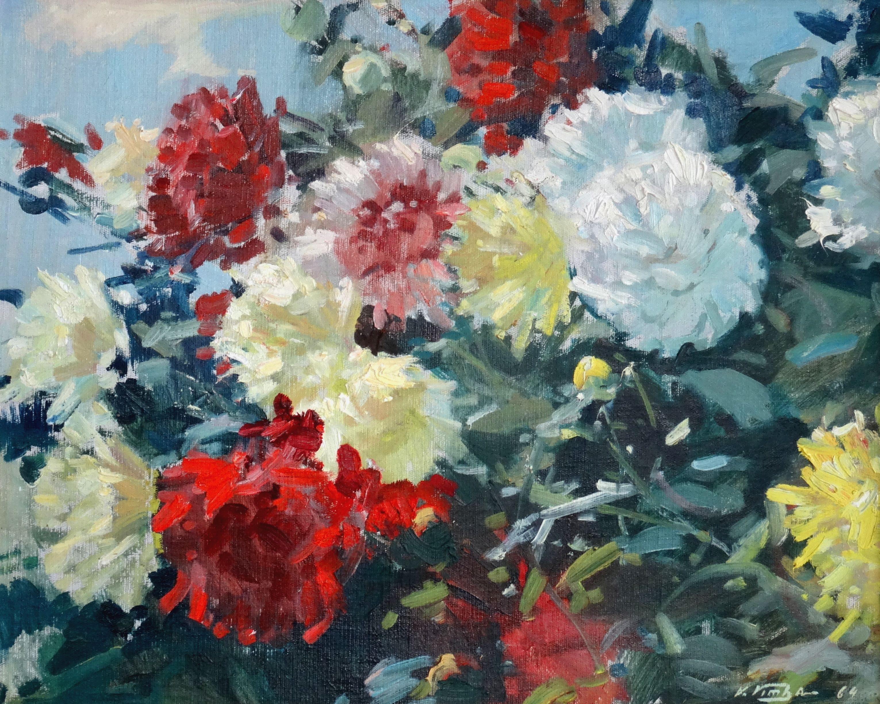 The flowers. Colorful Asters. 1964. Oil on canvas, board, 46x58 cm