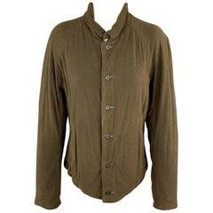 VOLGA VOLGA Size S Olive & Gray Textured Wool / Cotton Jersey Jacket