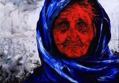 The Blue Scarf. Contemporary Figurative Oil Painting