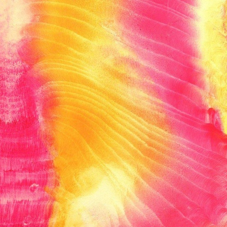 Abstract painting on canvas - yellow, magenta, white, 21st Century For Sale 1