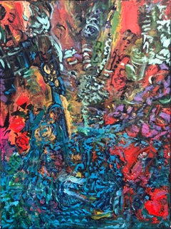Contemporary abstract bright colourful painting on canvas 40x30cm 21st century