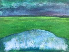 Contemporary abstract landscape painting on canvas, green, white, blue 21st cent