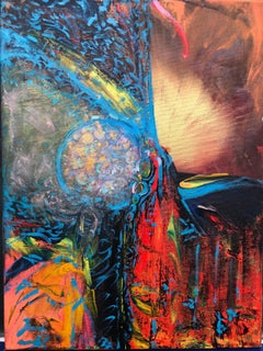 Contemporary abstract mixed media painting on canvas 21st century, free delivery