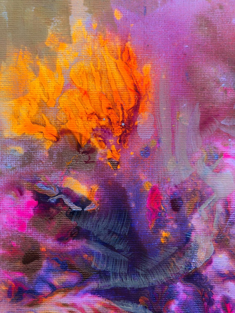 Contemporary art 21st century - painting on canvas - purple, orange, blue - Abstract Mixed Media Art by Volodymyr Zayichenko