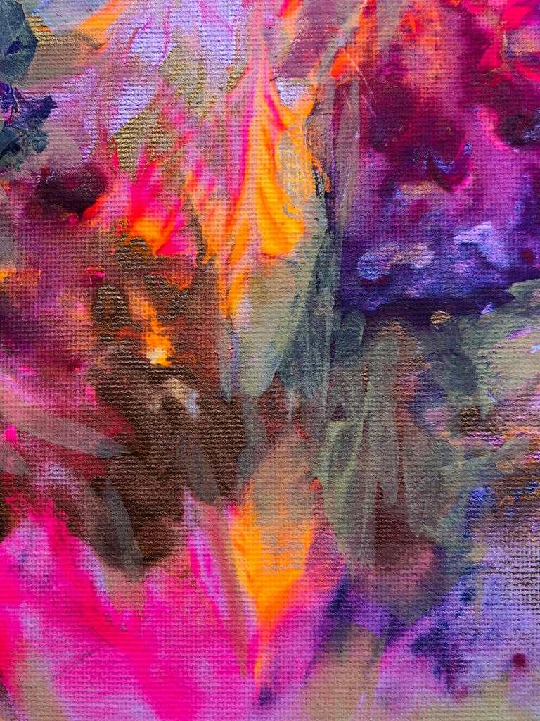 Contemporary art 21st century - painting on canvas - purple, orange, blue For Sale 1