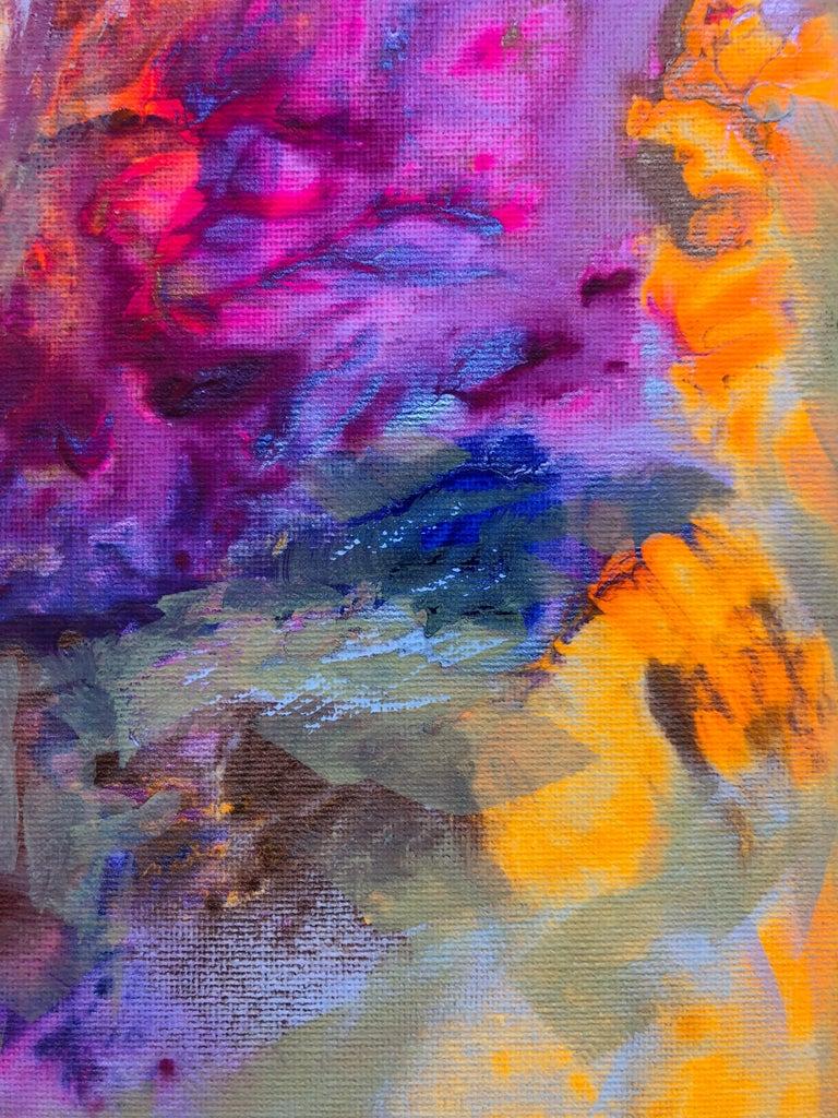 Contemporary art 21st century - painting on canvas - purple, orange, blue For Sale 2