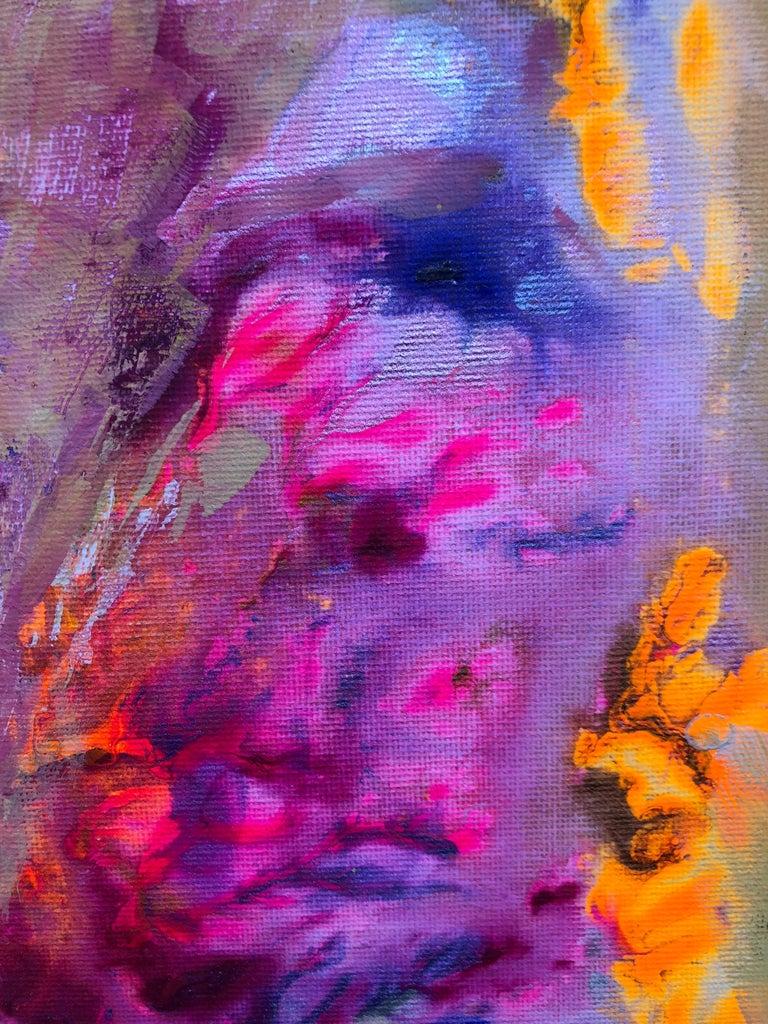 Contemporary art 21st century - painting on canvas - purple, orange, blue For Sale 3