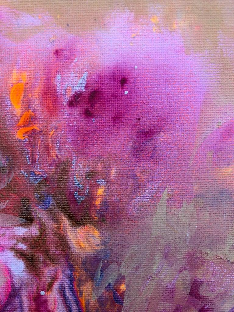 Contemporary art 21st century - painting on canvas - purple, orange, blue For Sale 4
