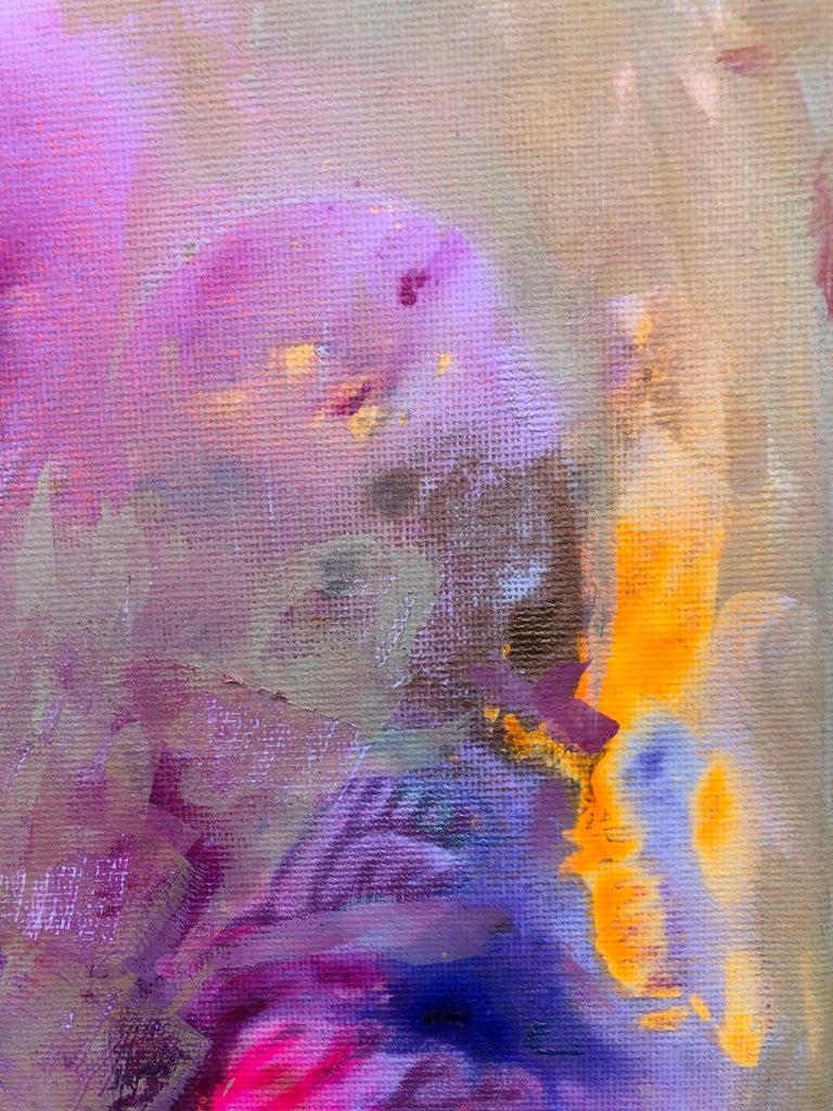 Contemporary art 21st century - painting on canvas - purple, orange, blue For Sale 5