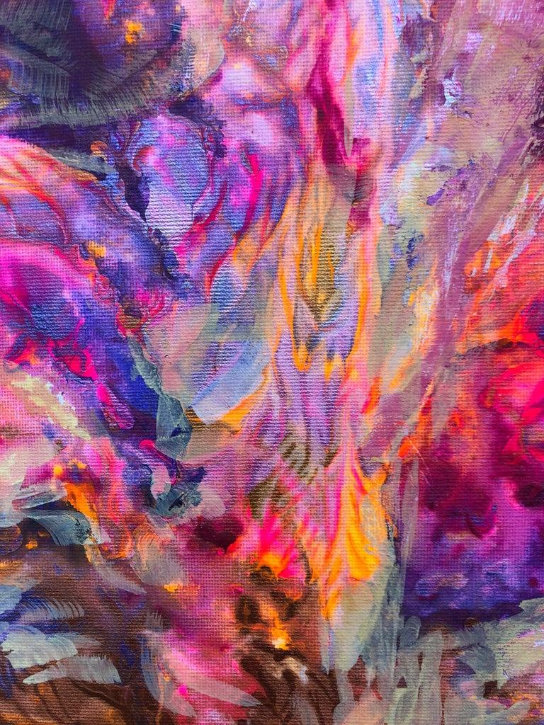 Contemporary art 21st century - painting on canvas - purple, orange, blue For Sale 6