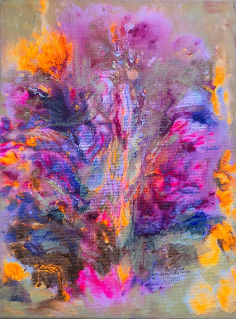Contemporary art 21st century - painting on canvas - purple, orange, blue - Mixed Media Art by Volodymyr Zayichenko
