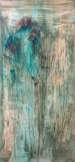 1Crystalking - Abstract painting on canvas, mixed media oil portrait in green.