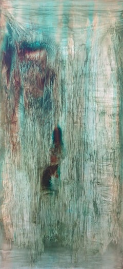 2Crystalking - Abstract painting on canvas, mixed media oil portrait in green.