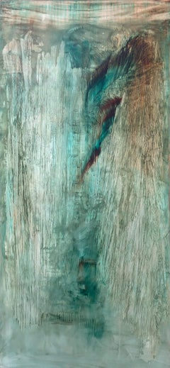 3Crystalking - Abstract painting on canvas, mixed media oil portrait in green.