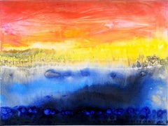 Abstract art oil painting, fountain of colours sign triptych blue red yellow