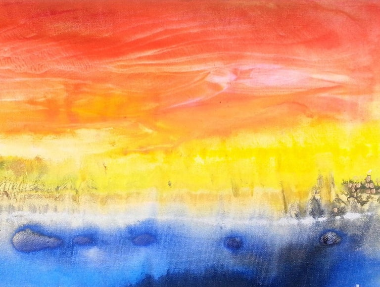 Abstract art oil painting, fountain of colours sign triptych Yves Klein Blue Yellow blue red painting on canvas Sunrise memories #2 2015 30x40cm by  Volodymyr Zayichenko Available for international delivery  Blockchain based Certificate of