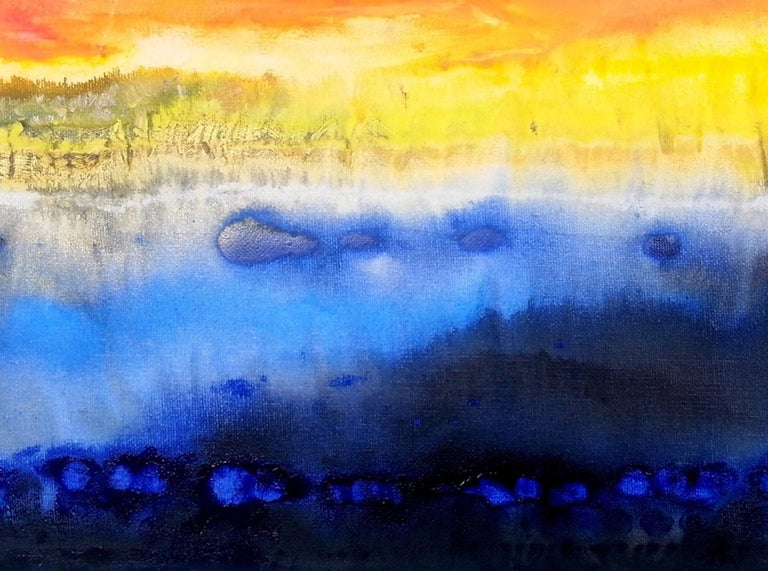 Abstract art oil painting, fountain of colours sign triptych 1