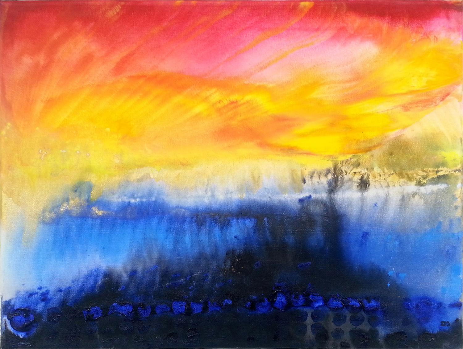 Abstract art yellow blue magenta contemporary painting on canvas 30x40cm