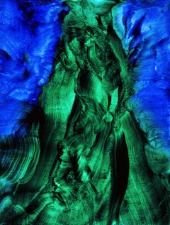 Ascending emerald Oil painting on canvas green blue by Volodymyr Zayichenko