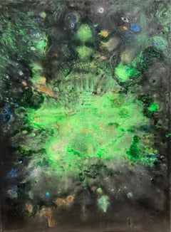 Contemporary art 21st century - painting on canvas - emerald, green, blue, gold