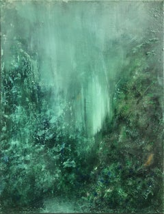 Contemporary art 21st century - painting on canvas - emerald, green, waterfall
