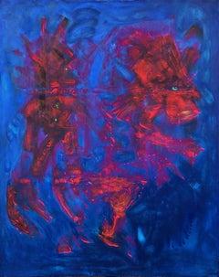 Contemporary art - 21st century painting on canvas - Horseman, horse