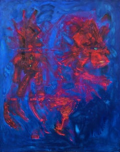 Contemporary art - 21st century painting on canvas - Horseman, horse